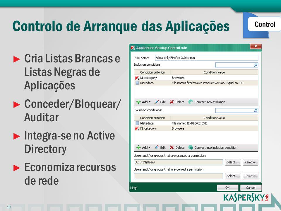 Cria Listas Brancas e Listas Negras de Aplicações Conceder/Bloquear/ Auditar Integra-se no Active Directory Economiza recursos de rede 10