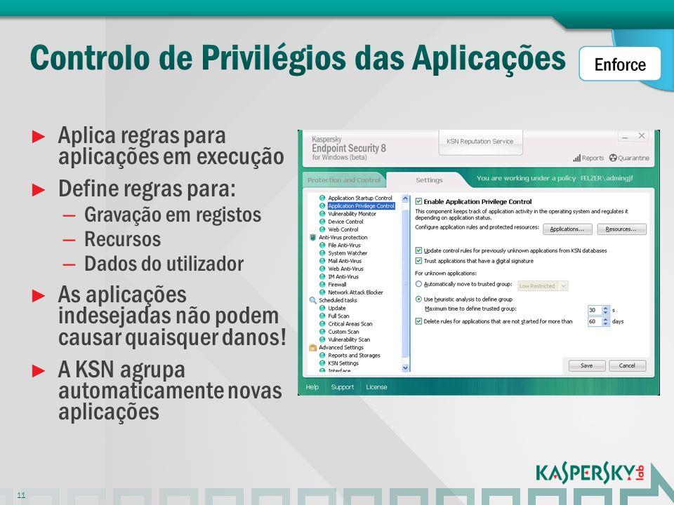 Aplica regras para aplicações em execução Define regras para: – Gravação em registos – Recursos – Dados do utilizador As aplicações indesejadas não po