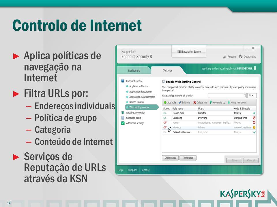 Aplica políticas de navegação na Internet Filtra URLs por: – Endereços individuais – Política de grupo – Categoria – Conteúdo de Internet Serviços de