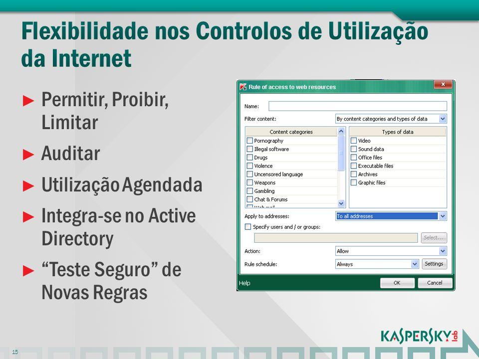Permitir, Proibir, Limitar Auditar Utilização Agendada Integra-se no Active Directory Teste Seguro de Novas Regras 15