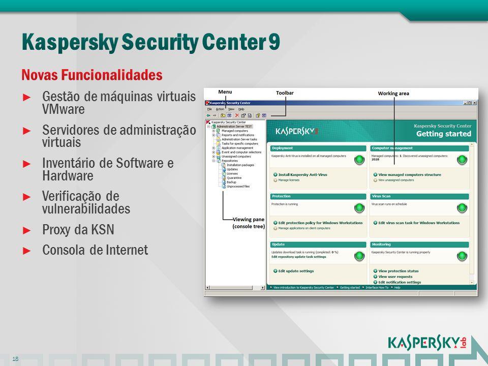 Gestão de máquinas virtuais VMware Servidores de administração virtuais Inventário de Software e Hardware Verificação de vulnerabilidades Proxy da KSN