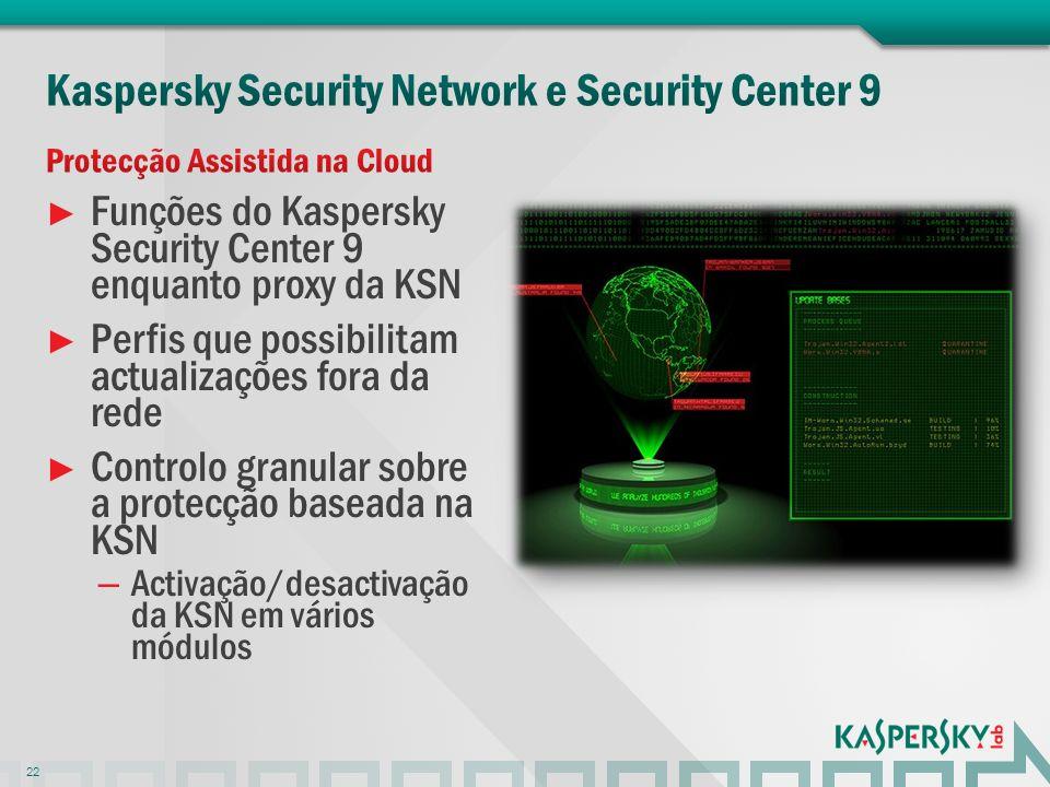 Funções do Kaspersky Security Center 9 enquanto proxy da KSN Perfis que possibilitam actualizações fora da rede Controlo granular sobre a protecção ba