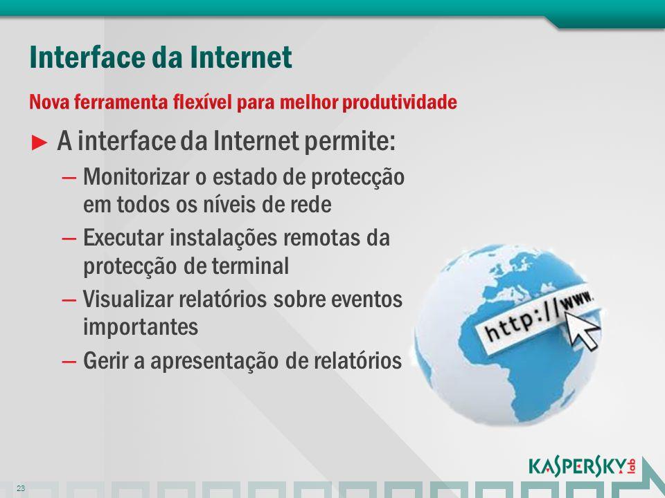 A interface da Internet permite: – Monitorizar o estado de protecção em todos os níveis de rede – Executar instalações remotas da protecção de termina