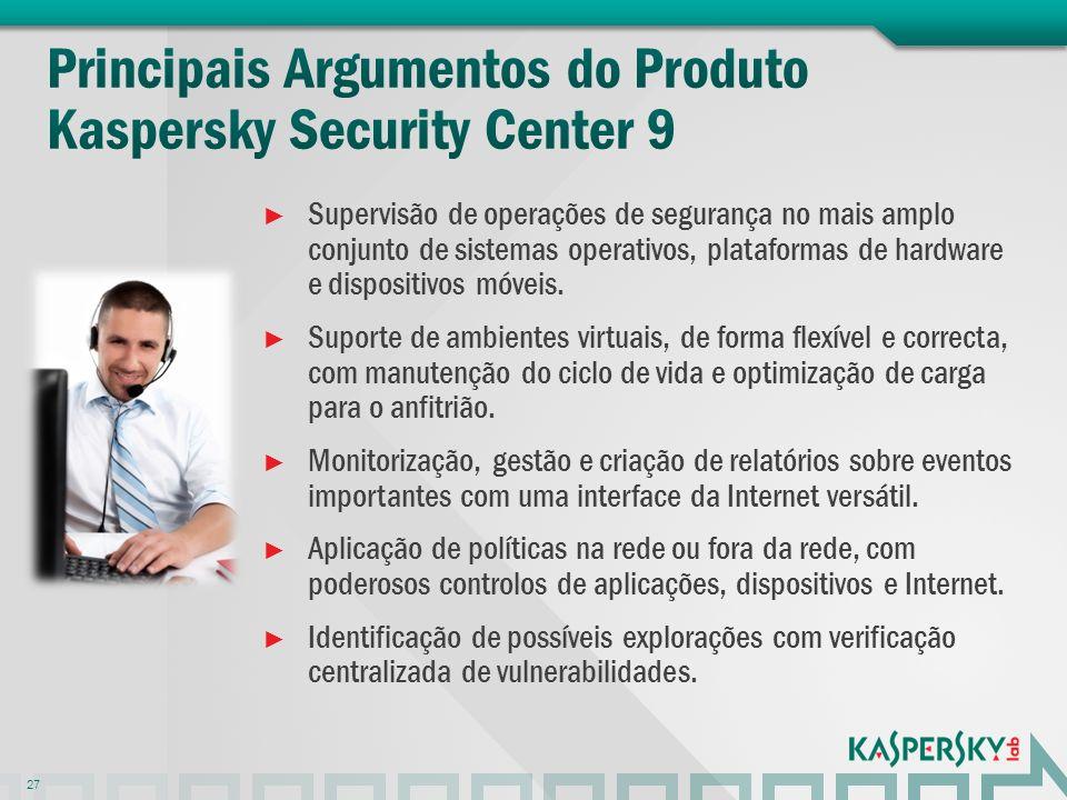 Supervisão de operações de segurança no mais amplo conjunto de sistemas operativos, plataformas de hardware e dispositivos móveis. Suporte de ambiente