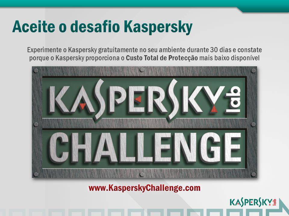 Experimente o Kaspersky gratuitamente no seu ambiente durante 30 dias e constate porque o Kaspersky proporciona o Custo Total de Protecção mais baixo