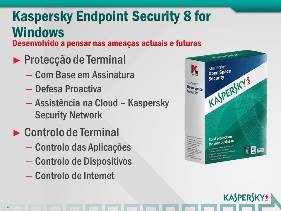 Protecção de Terminal – Com Base em Assinatura – Defesa Proactiva – Assistência na Cloud – Kaspersky Security Network Controlo de Terminal – Controlo