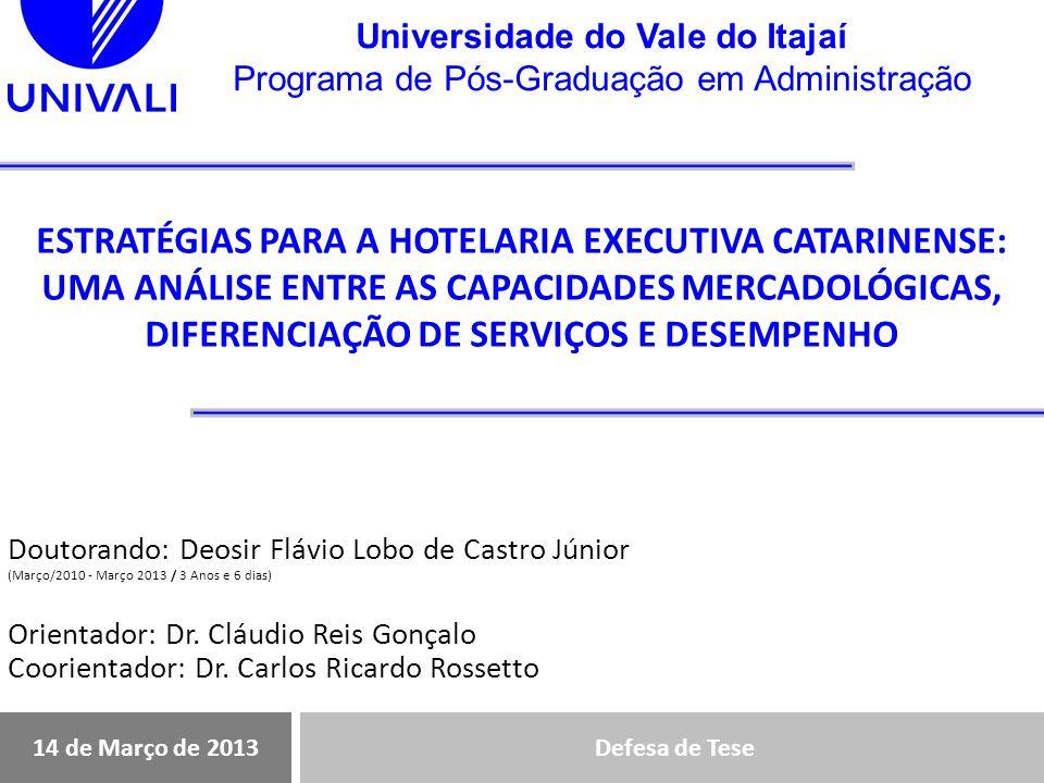 Universidade do Vale do Itajaí Programa de Pós-Graduação em Administração Resumo das relações hipotéticas testadas Ajuste do modeloModeloTESTE DE HIPÓTESES CAMINHO DIRETOHIPÓTESEP COEFICIENTE PADRONIZADO RELAÇÃOSUPORTE Desemp Cap_MercadH10,004,362PositivaSuportada Pessoas_1d Cap_MercadH20,000,596PositivaSuportada Processos_2d Cap_MercadH30,000,645PositivaSuportada Ambiente_3d Capac_MercadH40,000,558PositivaSuportada Desemp_vd Pessoas_1dH50,003,269PositivaSuportada Desemp_vd Processos_2dH60,799-,023 Não Suportada Desemp_vd Ambiente_3dH70,003,253PositivaSuportada CAMINHO INDIRETOHIPÓTESEP COEFICIENTE PADRONIZADO RELAÇÃOSUPORTE Desemp_vd Pessoas_1dH81,0000,000MediaSuportada Desemp_vd Processos_2dH91,0000,000MediaSuportada Desemp_vd Ambiente_3dH101,0000,000MediaSuportada