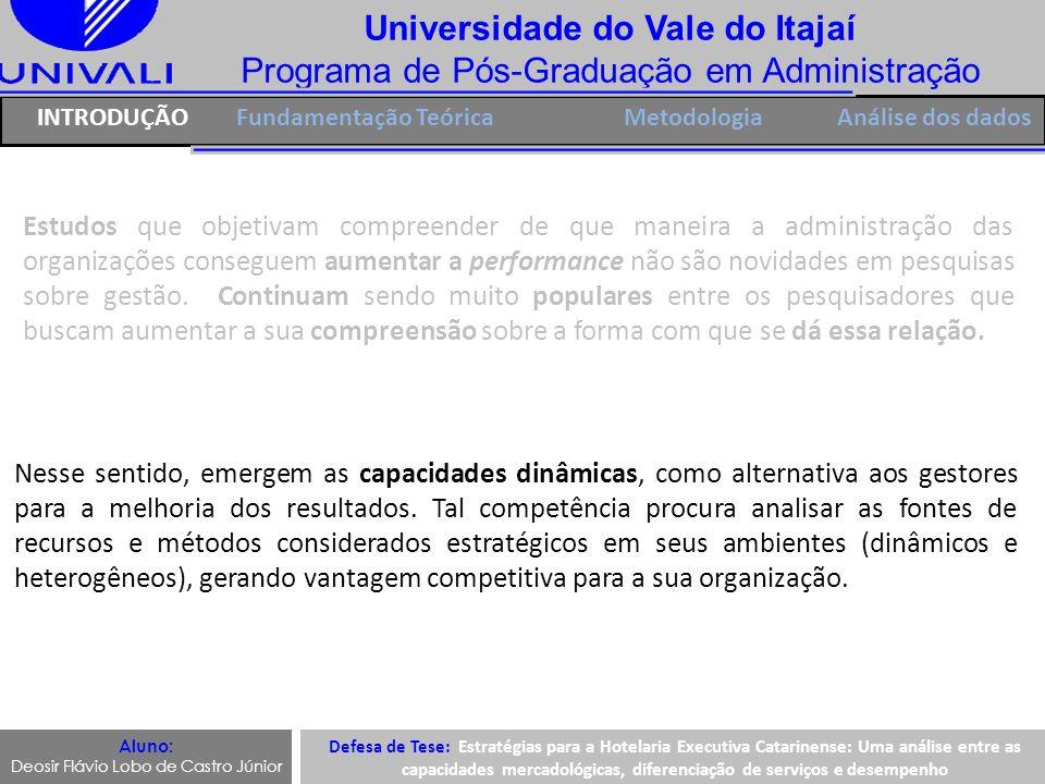 Universidade do Vale do Itajaí Programa de Pós-Graduação em Administração INTRODUÇÃOFundamentação TeóricaMetodologia Os diferentes tipos de capacidades possuem um ponto em comum, o fato de serem vistas como uma variante dos estudos da visão da firma baseada em recursos (KOTABEE; SRINIVASAN; AULAKH, 2002; PROENÇA, 2003; BURLAMAQUI; VORHIESE; MORGAN, 2005; KRASNIKOV; JAYACHANDRAN, 2008; FLORIANI; BORINI; FLEURY, 2009, DAY 2011).