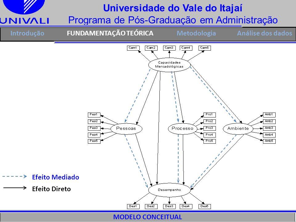 Universidade do Vale do Itajaí Programa de Pós-Graduação em Administração IntroduçãoFUNDAMENTAÇÃO TEÓRICAMetodologia MODELO CONCEITUAL A A A Efeito Di