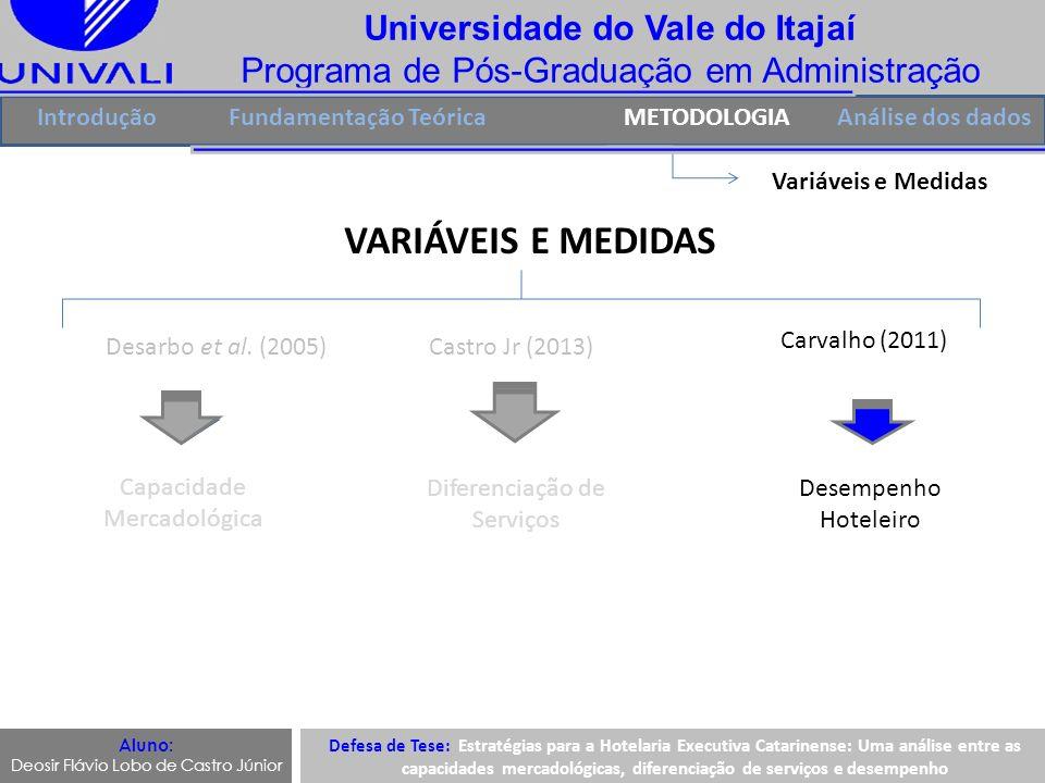 Universidade do Vale do Itajaí Programa de Pós-Graduação em Administração IntroduçãoFundamentação TeóricaMETODOLOGIA Variáveis e Medidas VARIÁVEIS E M