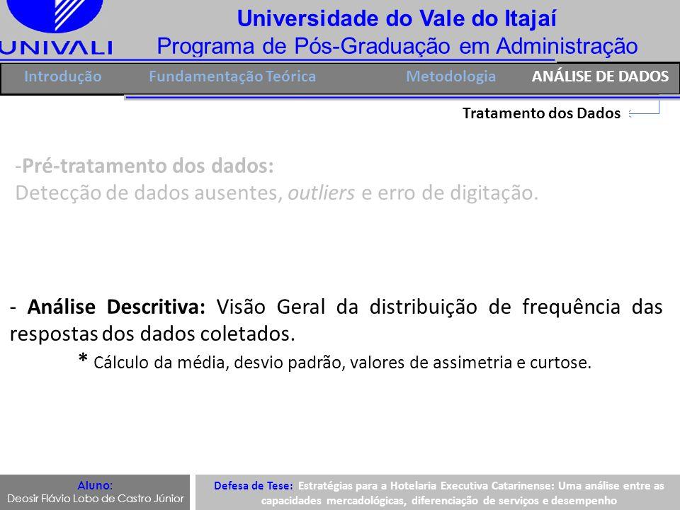 Universidade do Vale do Itajaí Programa de Pós-Graduação em Administração IntroduçãoFundamentação TeóricaANÁLISE DE DADOS Tratamento dos Dados -Pré-tr
