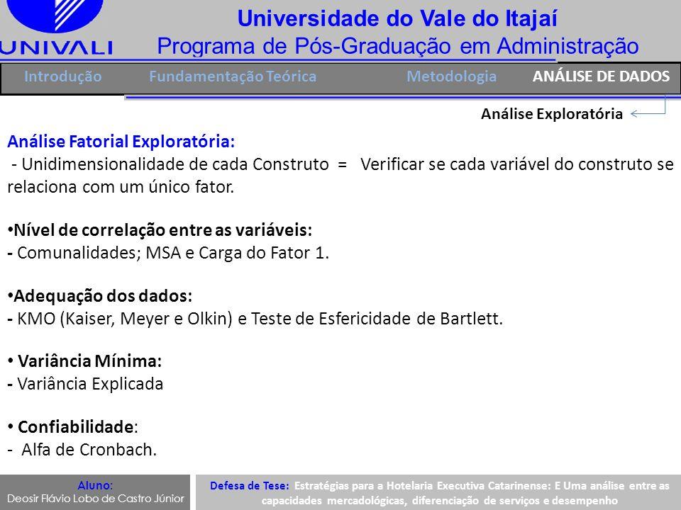 Universidade do Vale do Itajaí Programa de Pós-Graduação em Administração IntroduçãoFundamentação Teórica Análise Exploratória Análise Fatorial Explor