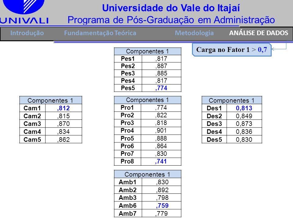 Universidade do Vale do Itajaí Programa de Pós-Graduação em Administração IntroduçãoFundamentação Teórica Componentes 1 Pes1,817 Pes2,887 Pes3,885 Pes
