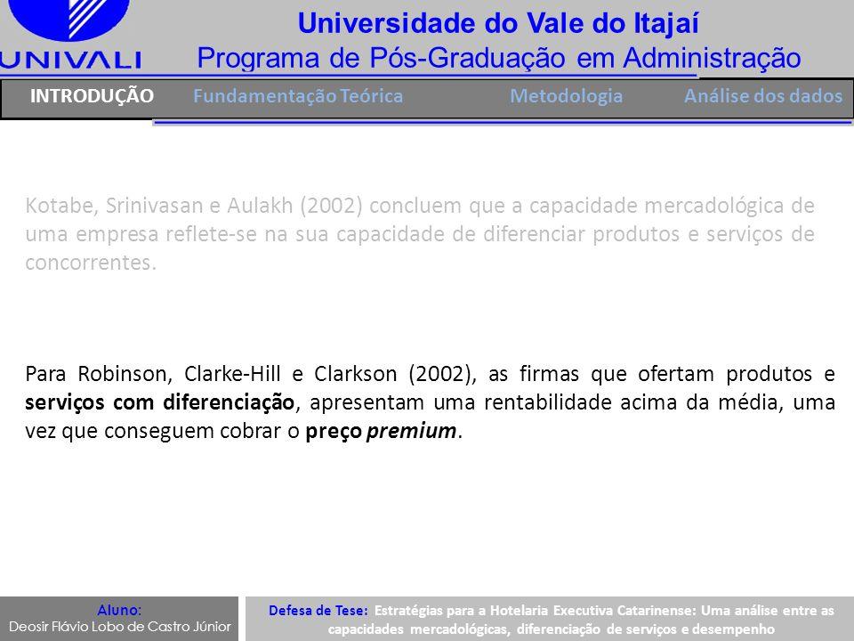 Universidade do Vale do Itajaí Programa de Pós-Graduação em Administração IntroduçãoFundamentação Teórica Aluno: Deosir Flávio Lobo de Castro Júnior Cam1Cam 2Cam 3Cam 4Cam 5 Comunalidades,660,664,757,696,744 Carga fatorial,812,815,870,834,862 Construto: Capacidades Mercadológicas Cam1Cam 2Cam 3Cam 4Cam 5 Anti-imagem Covariância Cam1,493-,125-,113-,078-,033 Cam2-,125,493-,073-,108-,051 Cam3-,113-,073,363-,049-,165 Cam4-,078-,108-,049,452-,129 Cam5-,033-,051-,165-,129,369 Correlação Anti-imagem Cam1,897 a -,254-,266-,166-,077 Cam2-,254,902 a -,172-,229-,120 Cam3-,266-,172,846 a -,121-,449 Cam4-,166-,229-,121,889 a -,316 Cam5-,077-,120-,449-,316,841 a Defesa de Tese: Estratégias para a Hotelaria Executiva Catarinense: Uma análise entre as capacidades mercadológicas, diferenciação de serviços e desempenho Análise dos Dados: AFE ANÁLISE DE DADOSMetodologia Cam1Cam 2Cam 3Cam 4Cam 5 Comunalidades,660,664,757,696,744 Carga fatorial,812,815,870,834,862
