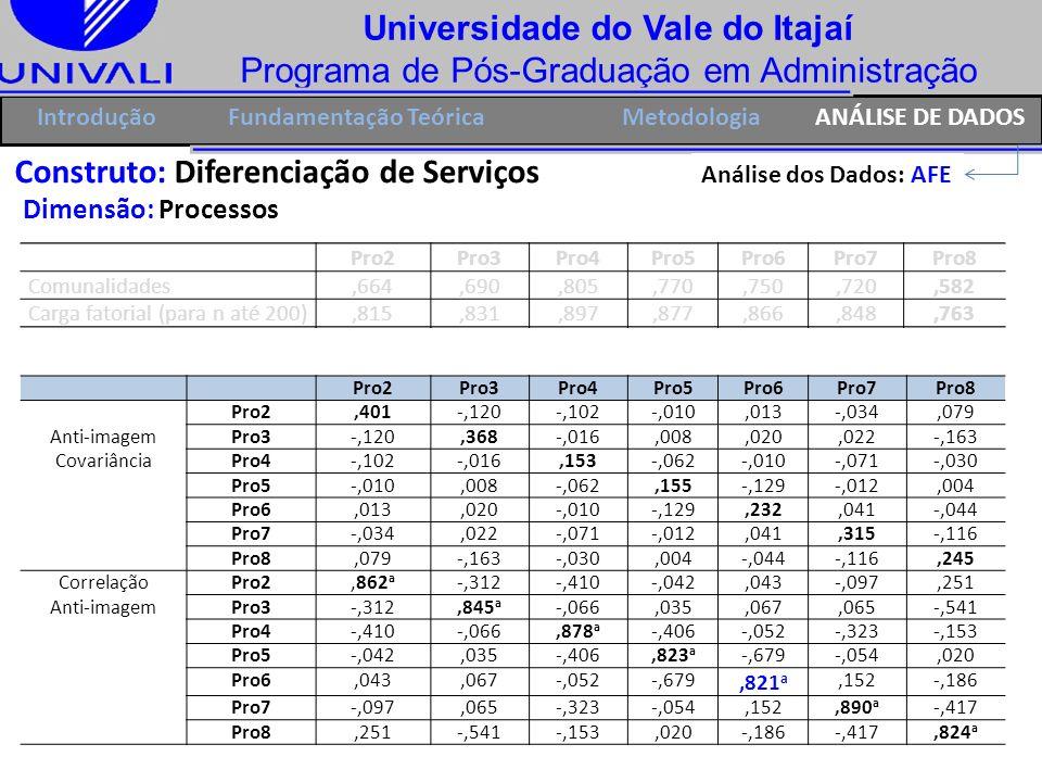 Universidade do Vale do Itajaí Programa de Pós-Graduação em Administração IntroduçãoFundamentação Teórica Construto: Diferenciação de Serviços Dimensã