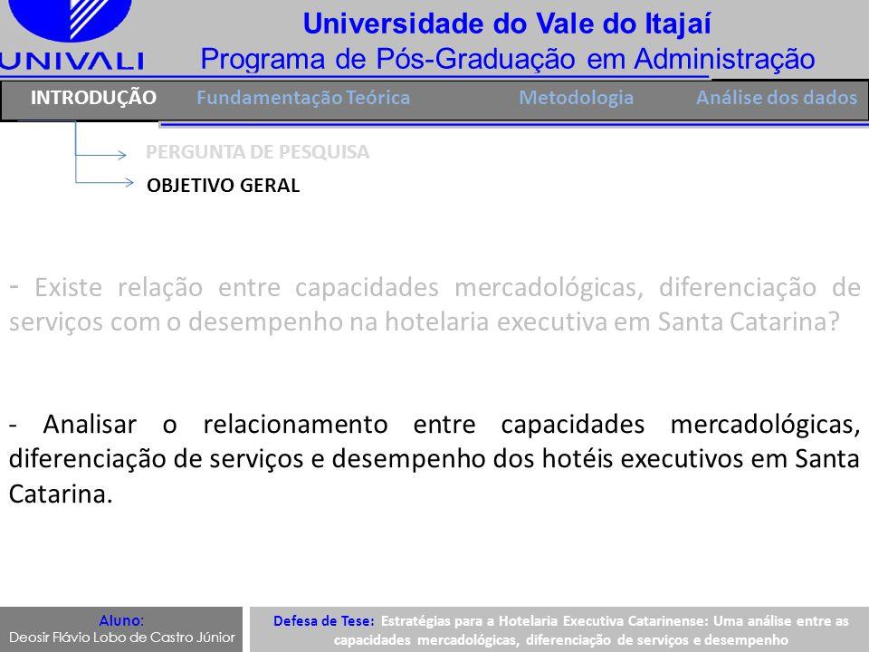 Universidade do Vale do Itajaí Programa de Pós-Graduação em Administração Introdução FUNDAMENTAÇÃO TEÓRICAMetodologia Capacidade Mercadológica DeSarbo et al.
