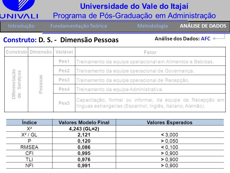 Universidade do Vale do Itajaí Programa de Pós-Graduação em Administração IntroduçãoFundamentação Teórica Construto: D. S. - Dimensão Pessoas ÍndiceVa