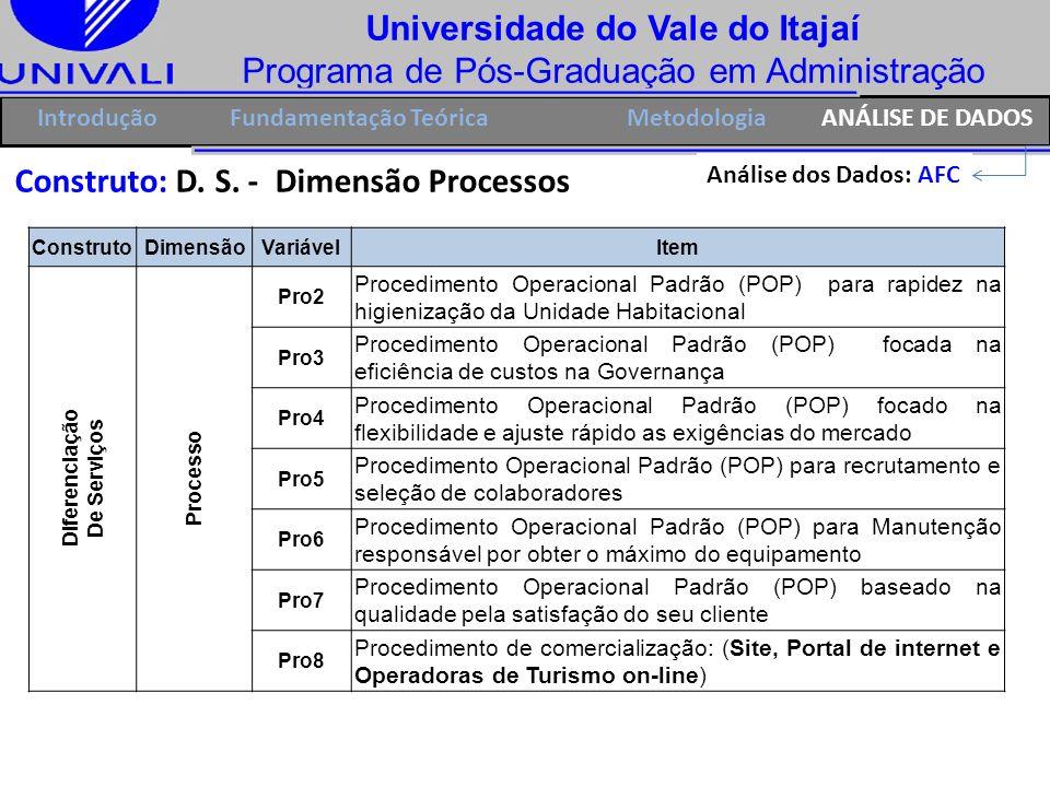Universidade do Vale do Itajaí Programa de Pós-Graduação em Administração IntroduçãoFundamentação Teórica Construto: D. S. - Dimensão Processos Anális