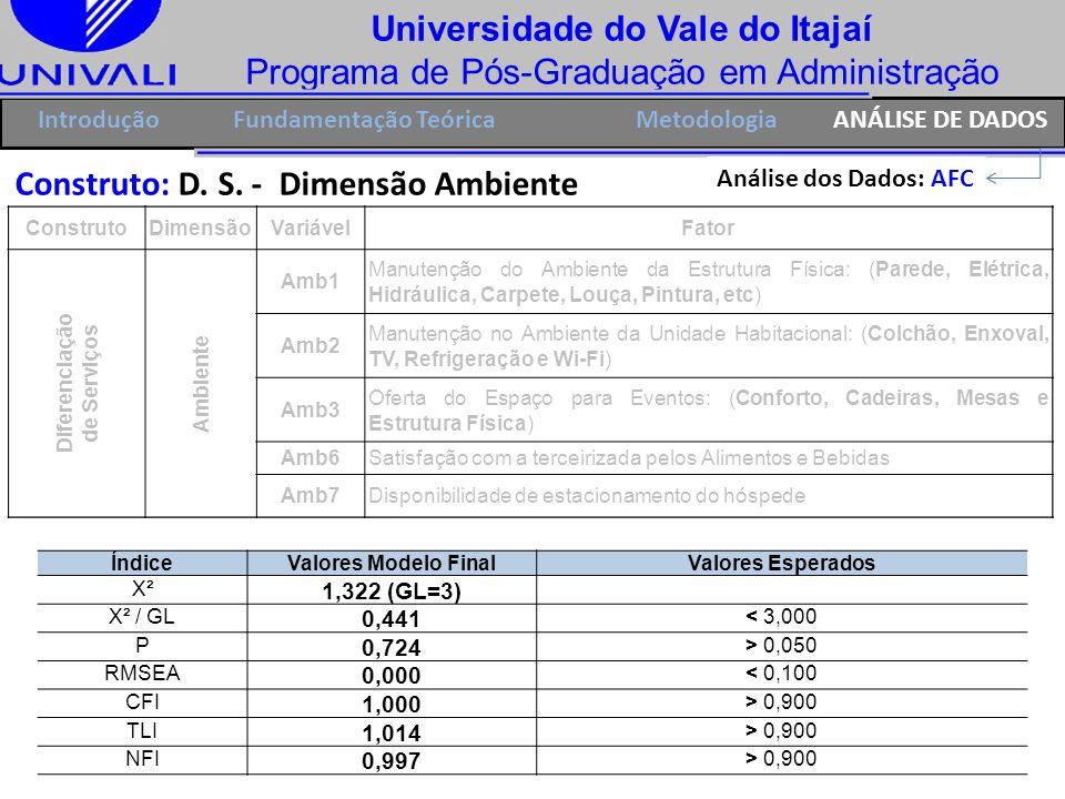 Universidade do Vale do Itajaí Programa de Pós-Graduação em Administração IntroduçãoFundamentação Teórica Construto: D. S. - Dimensão Ambiente Análise