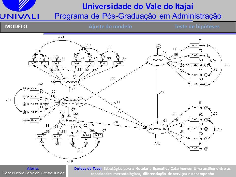 Universidade do Vale do Itajaí Programa de Pós-Graduação em Administração Ajuste do modeloMODELO Aluno: Deosir Flávio Lobo de Castro Júnior Defesa de