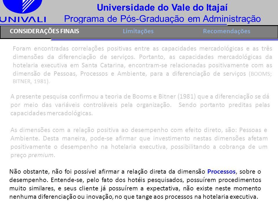 Universidade do Vale do Itajaí Programa de Pós-Graduação em Administração Foram encontradas correlações positivas entre as capacidades mercadológicas