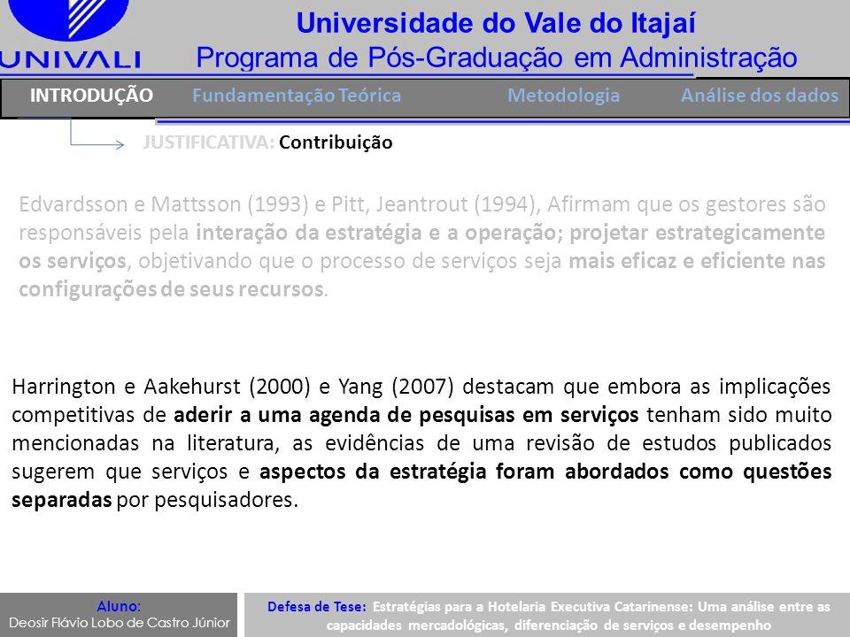 Universidade do Vale do Itajaí Programa de Pós-Graduação em Administração H4 IntroduçãoFUNDAMENTAÇÃO TEÓRICA Metodologia Capacidades Mercadológicas H3 H2: Capacidades mercadológicas tem relação com diferenciação de serviços, dimensão Pessoas.