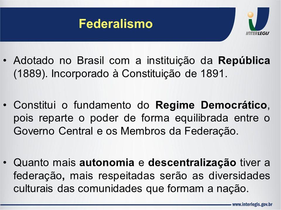 Federalismo Adotado no Brasil com a instituição da República (1889). Incorporado à Constituição de 1891. Constitui o fundamento do Regime Democrático,