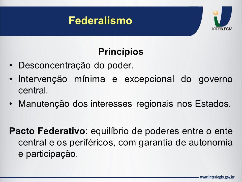 Federalismo Princípios Desconcentração do poder. Intervenção mínima e excepcional do governo central. Manutenção dos interesses regionais nos Estados.