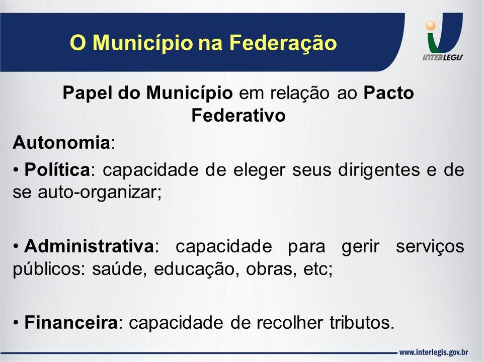 O Município na Federação Papel do Município em relação ao Pacto Federativo Autonomia: Política: capacidade de eleger seus dirigentes e de se auto-orga