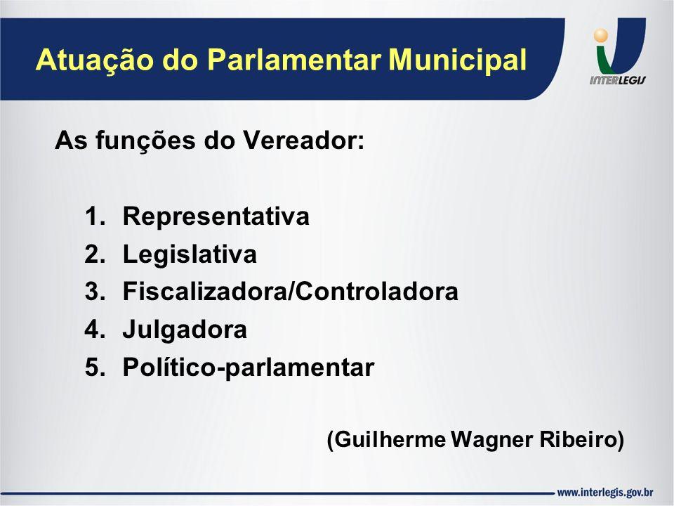 Atuação do Parlamentar Municipal As funções do Vereador: 1.Representativa 2.Legislativa 3.Fiscalizadora/Controladora 4.Julgadora 5.Político-parlamenta