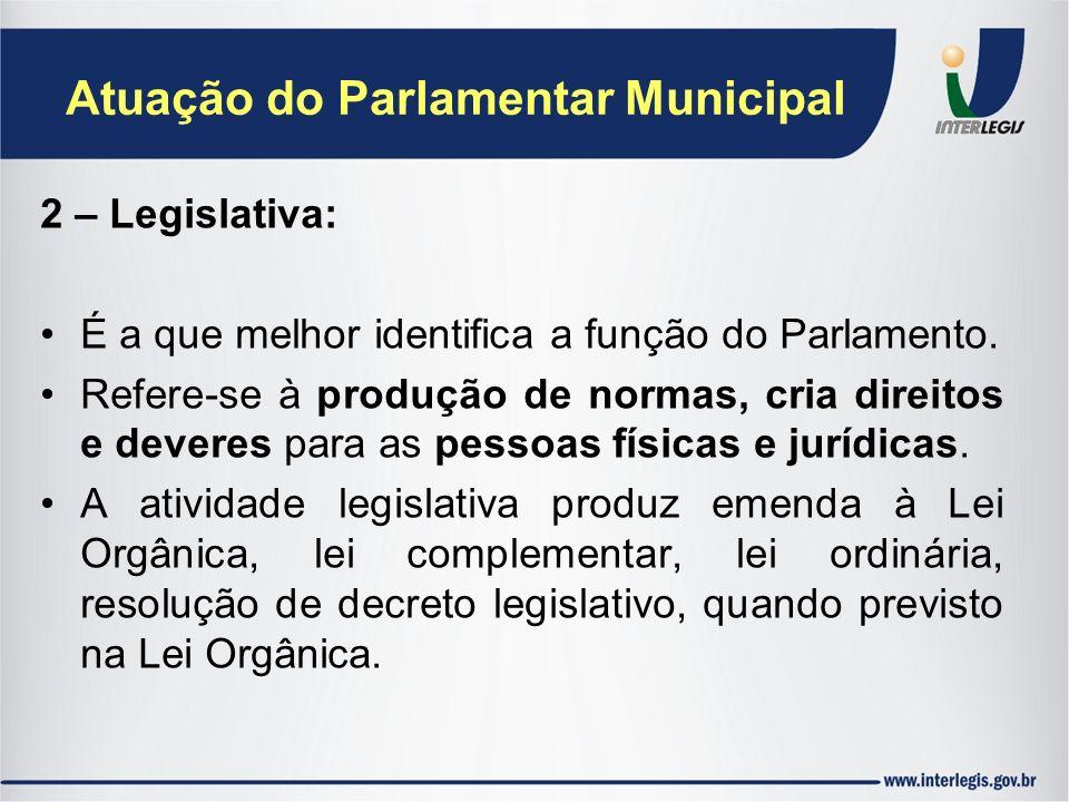 Atuação do Parlamentar Municipal 2 – Legislativa: É a que melhor identifica a função do Parlamento. Refere-se à produção de normas, cria direitos e de