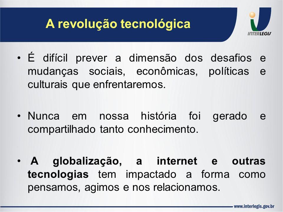 A revolução tecnológica É difícil prever a dimensão dos desafios e mudanças sociais, econômicas, políticas e culturais que enfrentaremos. Nunca em nos