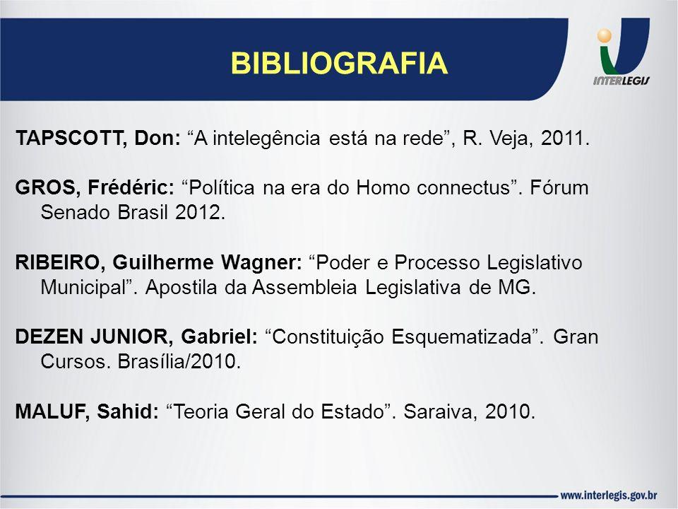 BIBLIOGRAFIA TAPSCOTT, Don: A intelegência está na rede, R. Veja, 2011. GROS, Frédéric: Política na era do Homo connectus. Fórum Senado Brasil 2012. R