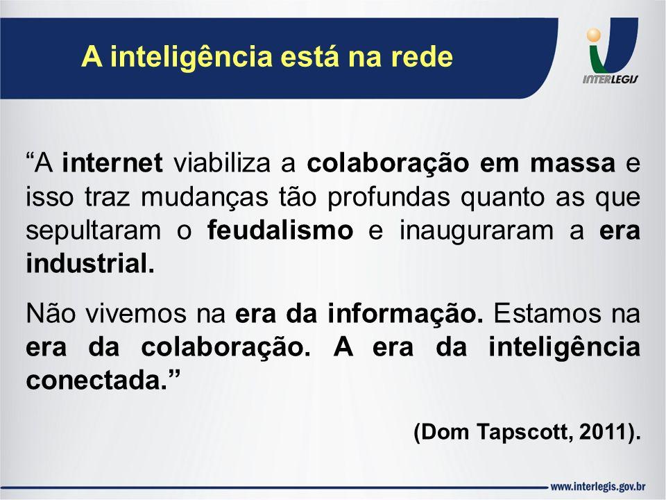 A inteligência está na rede A internet viabiliza a colaboração em massa e isso traz mudanças tão profundas quanto as que sepultaram o feudalismo e ina
