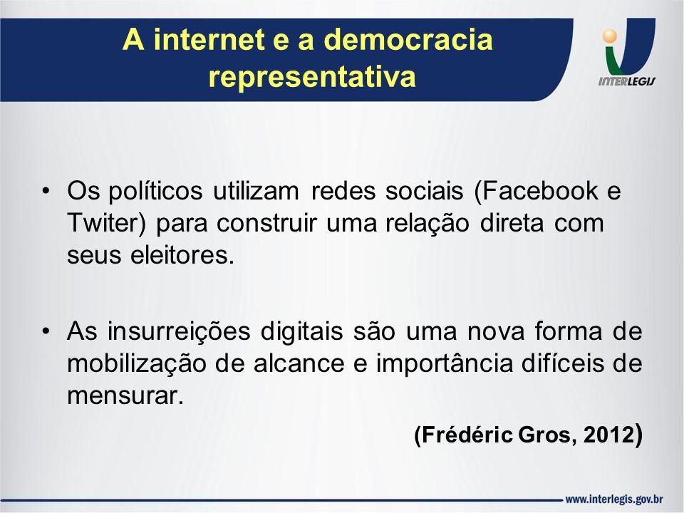 Os políticos utilizam redes sociais (Facebook e Twiter) para construir uma relação direta com seus eleitores. As insurreições digitais são uma nova fo