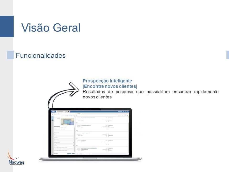 Visão Geral Funcionalidades Prospecção Inteligente |Encontre novos clientes| Resultados de pesquisa que possibilitam encontrar rapidamente novos clientes