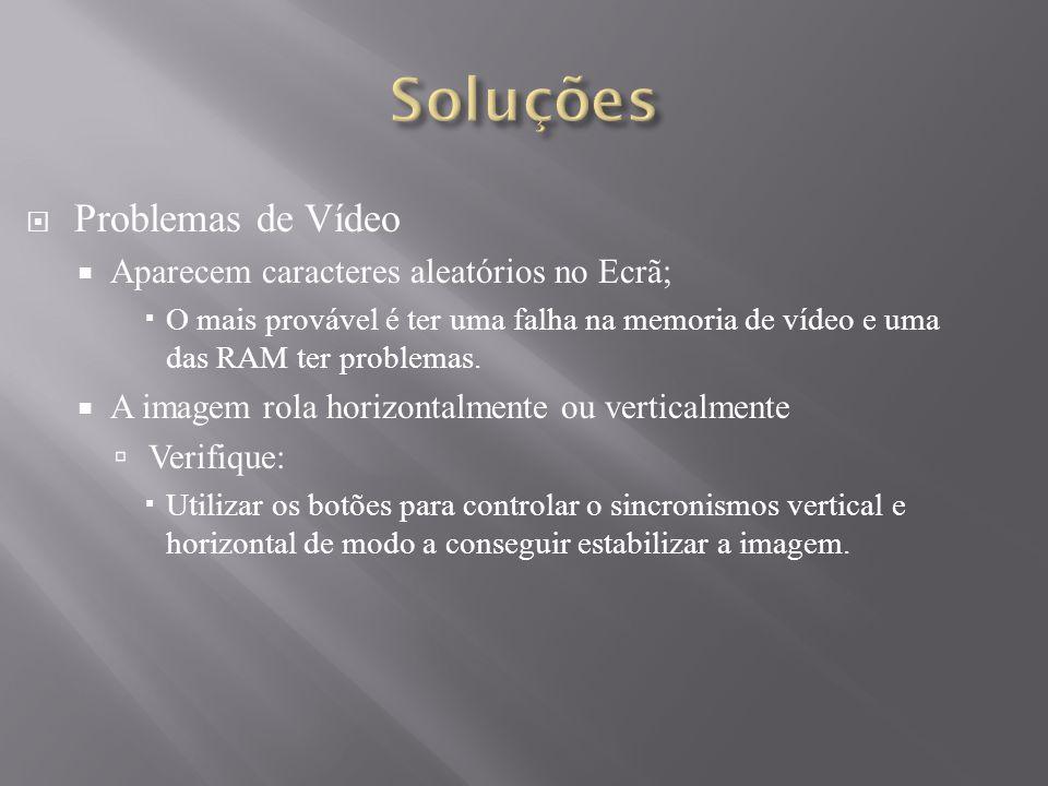 Problemas de Vídeo Aparecem caracteres aleatórios no Ecrã; O mais provável é ter uma falha na memoria de vídeo e uma das RAM ter problemas. A imagem r