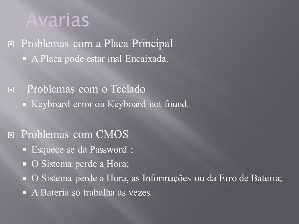 Problemas com a Placa Principal A Placa pode estar mal Encaixada. Problemas com o Teclado Keyboard error ou Keyboard not found. Problemas com CMOS Esq