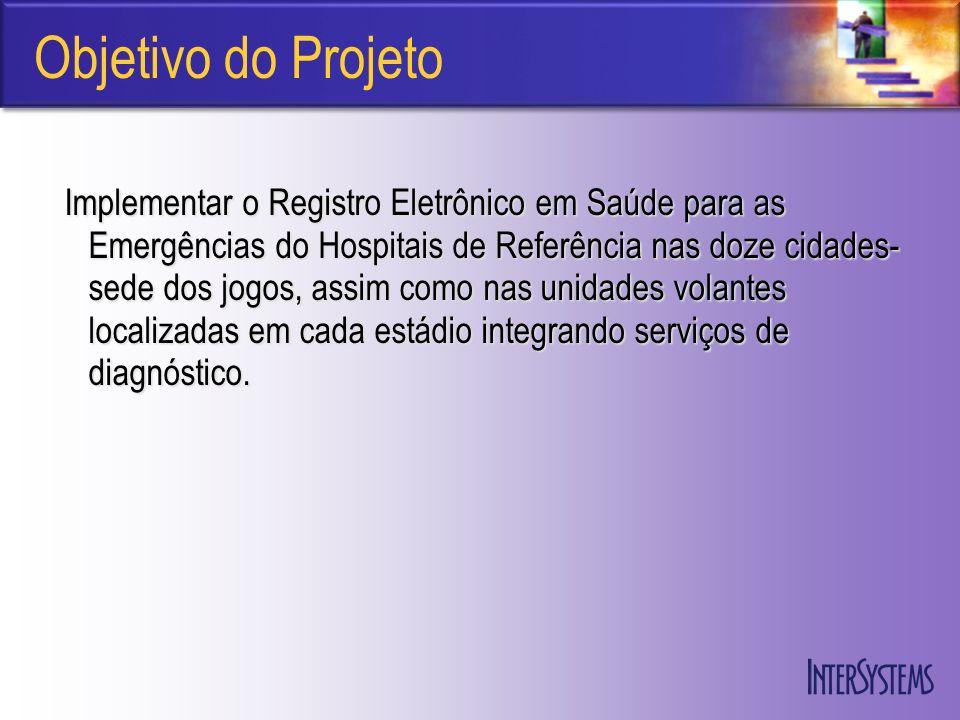 Objetivo do Projeto Implementar o Registro Eletrônico em Saúde para as Emergências do Hospitais de Referência nas doze cidades- sede dos jogos, assim como nas unidades volantes localizadas em cada estádio integrando serviços de diagnóstico.