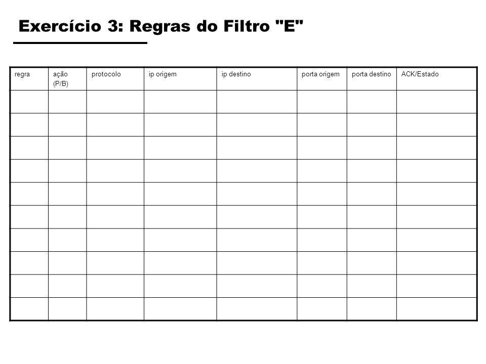 Exercício 3: Regras do Filtro