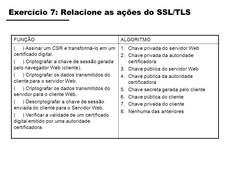 Exercício 7: Relacione as ações do SSL/TLS FUNÇÃOALGORITMO ( ) Assinar um CSR e transformá-lo em um certificado digital. ( ) Criptografar a chave de s