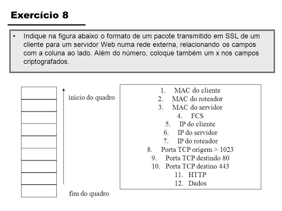 Exercício 8 Indique na figura abaixo o formato de um pacote transmitido em SSL de um cliente para um servidor Web numa rede externa, relacionando os c