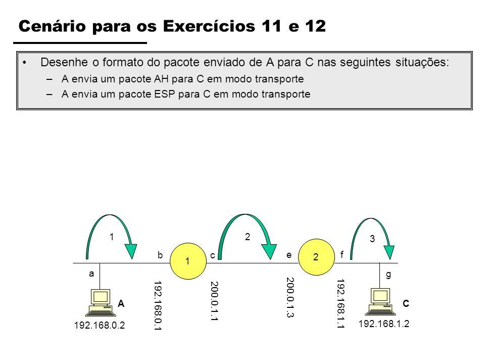 Cenário para os Exercícios 11 e 12 Desenhe o formato do pacote enviado de A para C nas seguintes situações: –A envia um pacote AH para C em modo trans