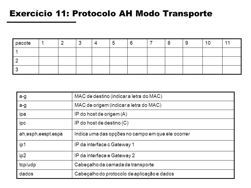 Exercício 11: Protocolo AH Modo Transporte pacote1234567891011 1 2 3 a-gMAC de destino (indicar a letra do MAC) a-gMAC de origem (indicar a letra do M