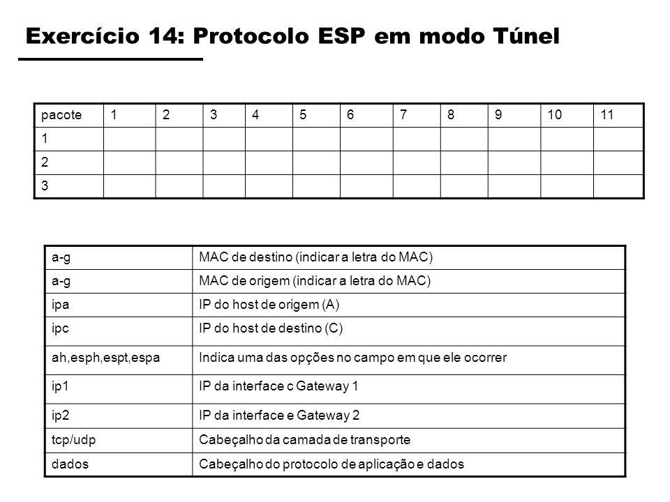Exercício 14: Protocolo ESP em modo Túnel pacote1234567891011 1 2 3 a-gMAC de destino (indicar a letra do MAC) a-gMAC de origem (indicar a letra do MA