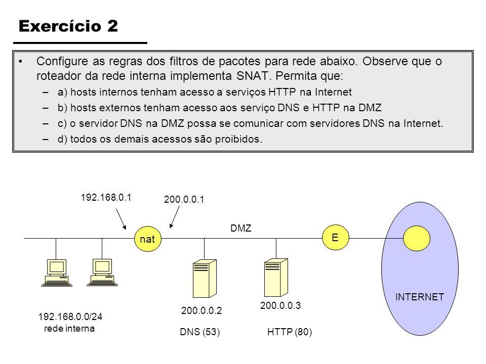 INTERNET Exercício 2 Configure as regras dos filtros de pacotes para rede abaixo. Observe que o roteador da rede interna implementa SNAT. Permita que: