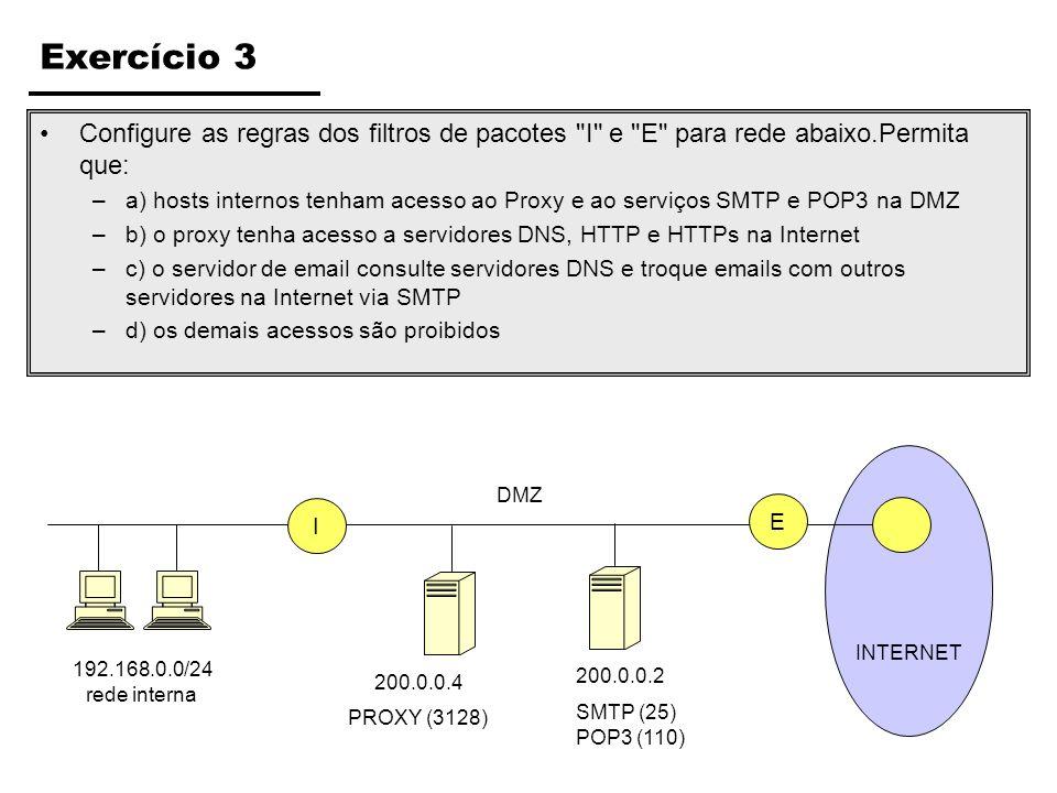 Exercício 10: Marque as Afirmações Verdadeiras ( ) O IPsec pode operar através de dois protocolos distintos, o ESP e AH.