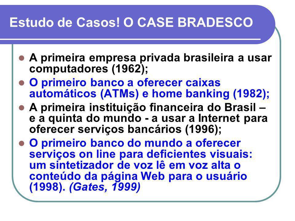 Estudo de Casos! O CASE BRADESCO A primeira empresa privada brasileira a usar computadores (1962); O primeiro banco a oferecer caixas automáticos (ATM