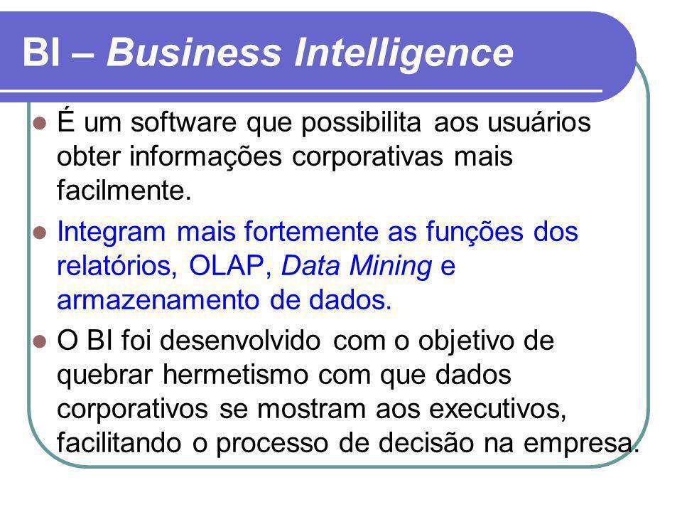 BI – Business Intelligence É um software que possibilita aos usuários obter informações corporativas mais facilmente. Integram mais fortemente as funç