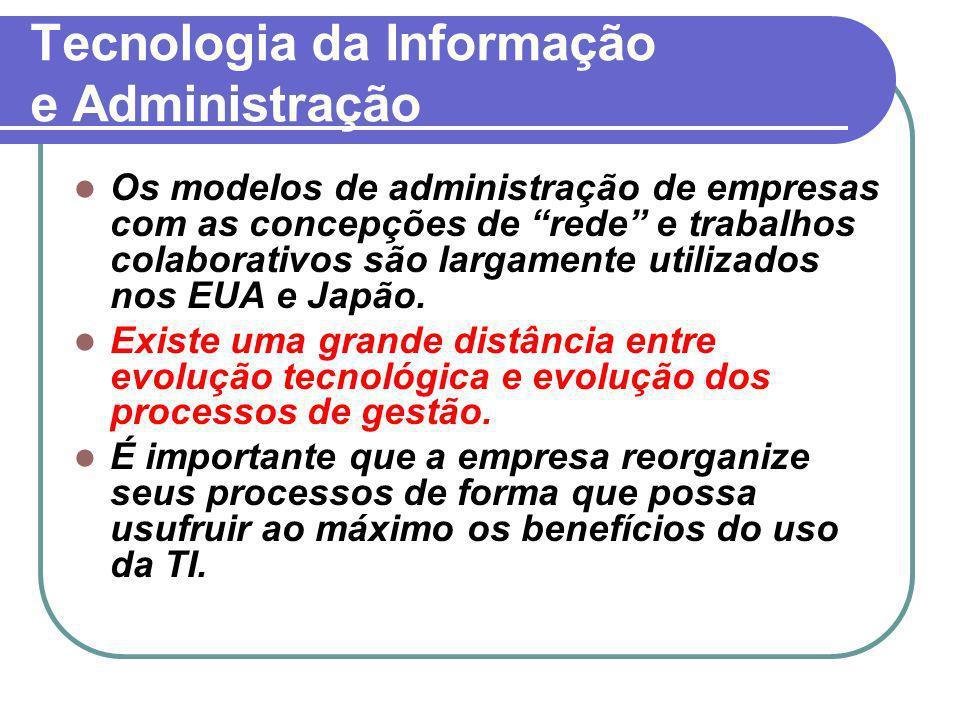 Tecnologia da Informação e Administração Os modelos de administração de empresas com as concepções de rede e trabalhos colaborativos são largamente ut